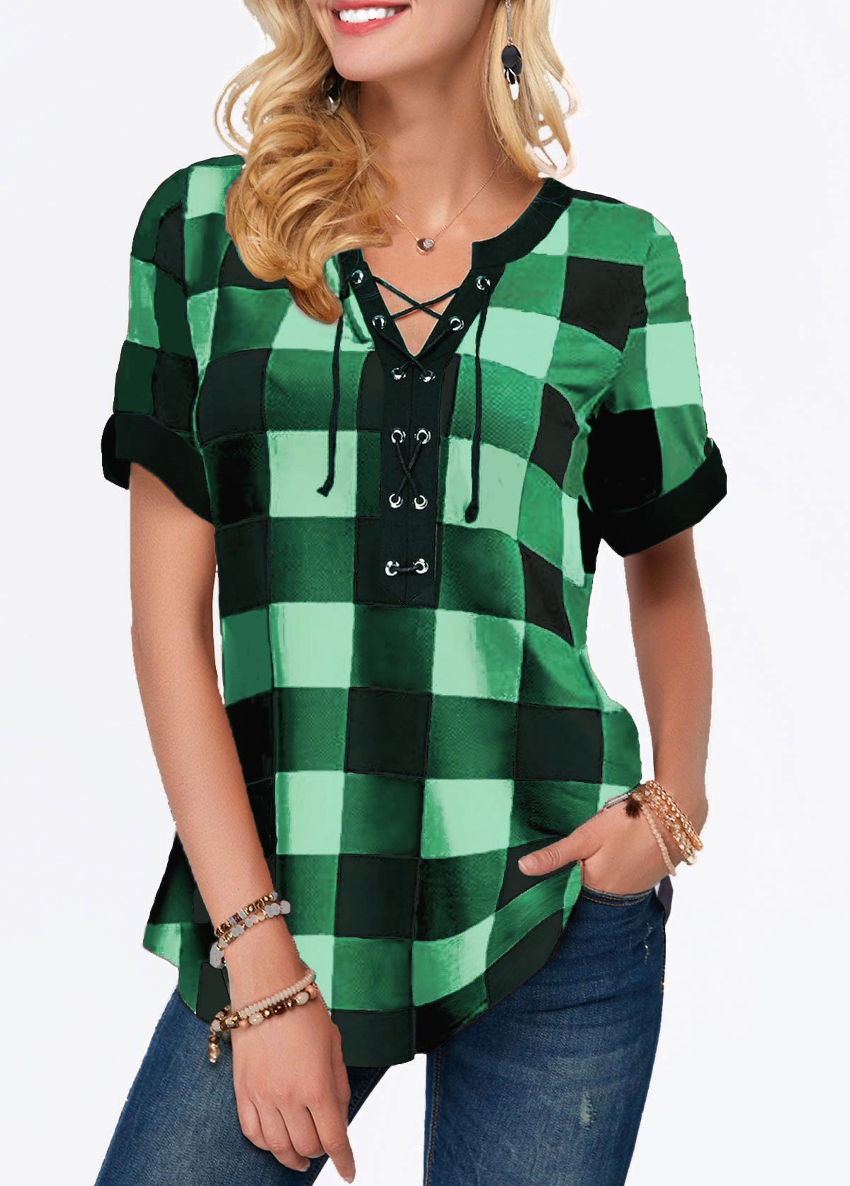 Short Sleeve Split Neck Plaid Print Blouse