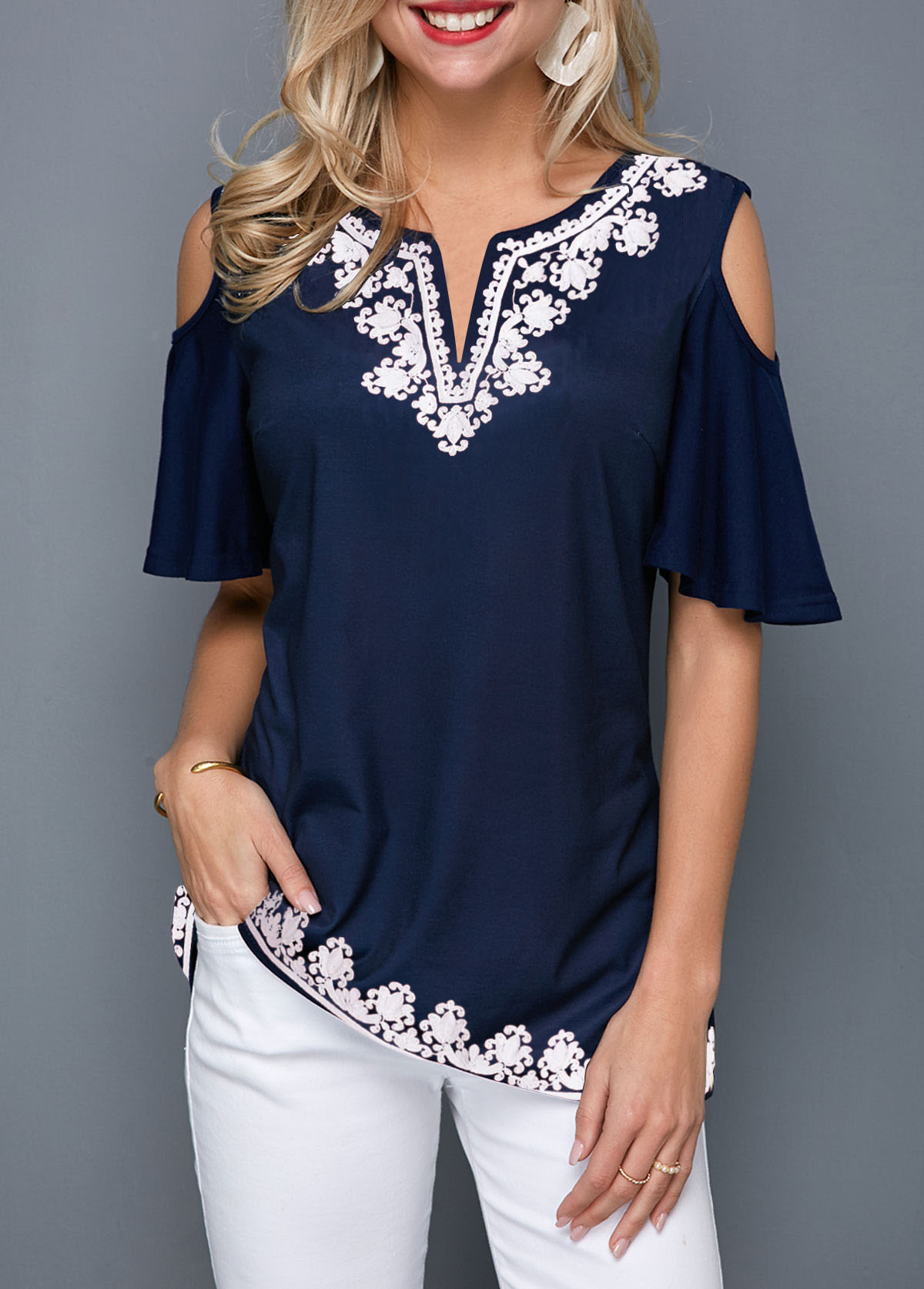 Tribal Print Cold Shoulder Notch Neck T Shirt