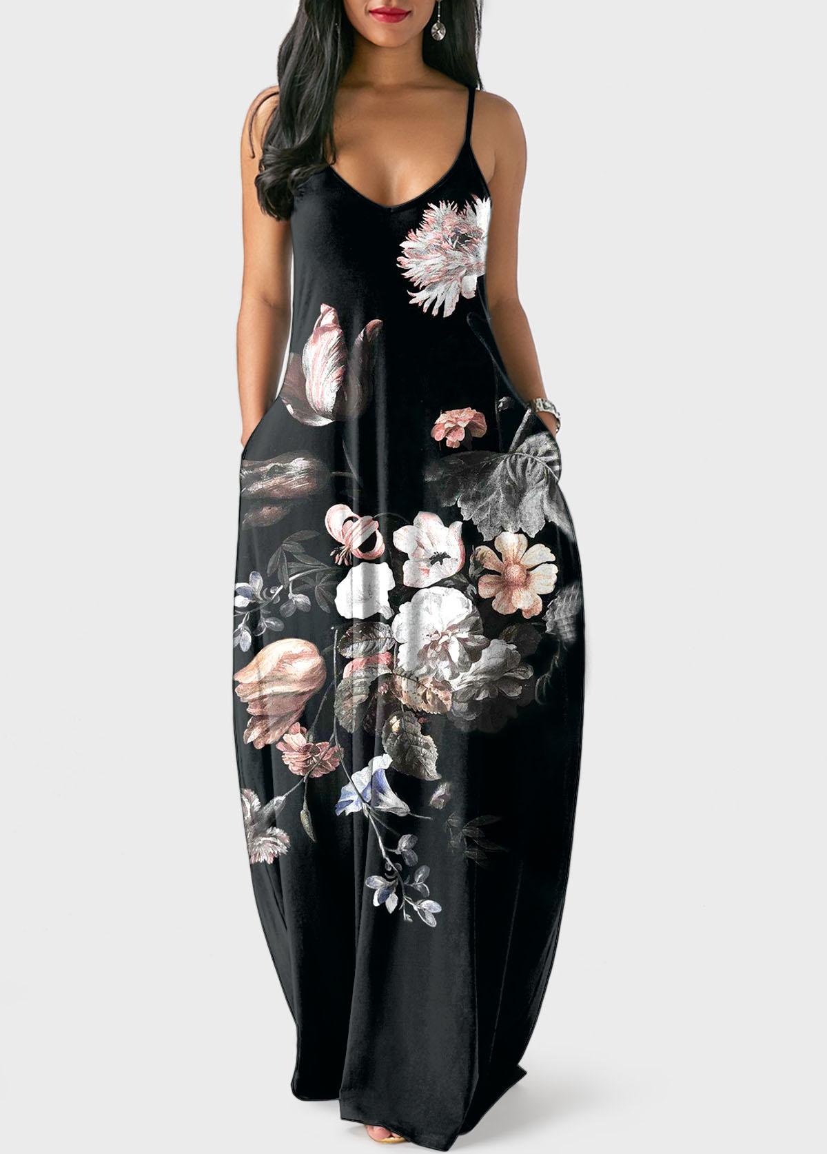 Spaghetti Strap Large Floral Print Black Dress