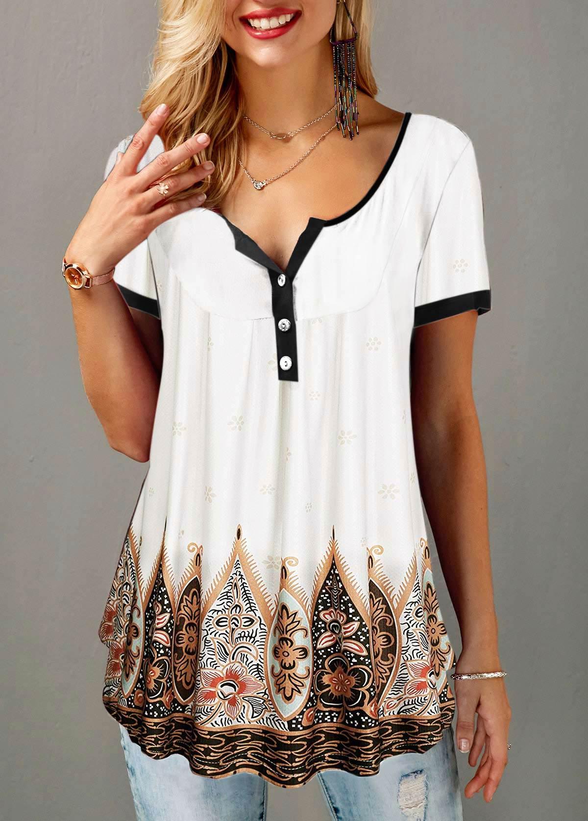 Split Neck Button Detail Tribal Print T Shirt