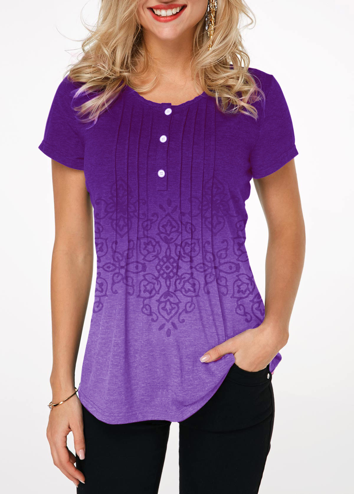 Gradient Crinkle Chest Button Detail Printed T Shirt