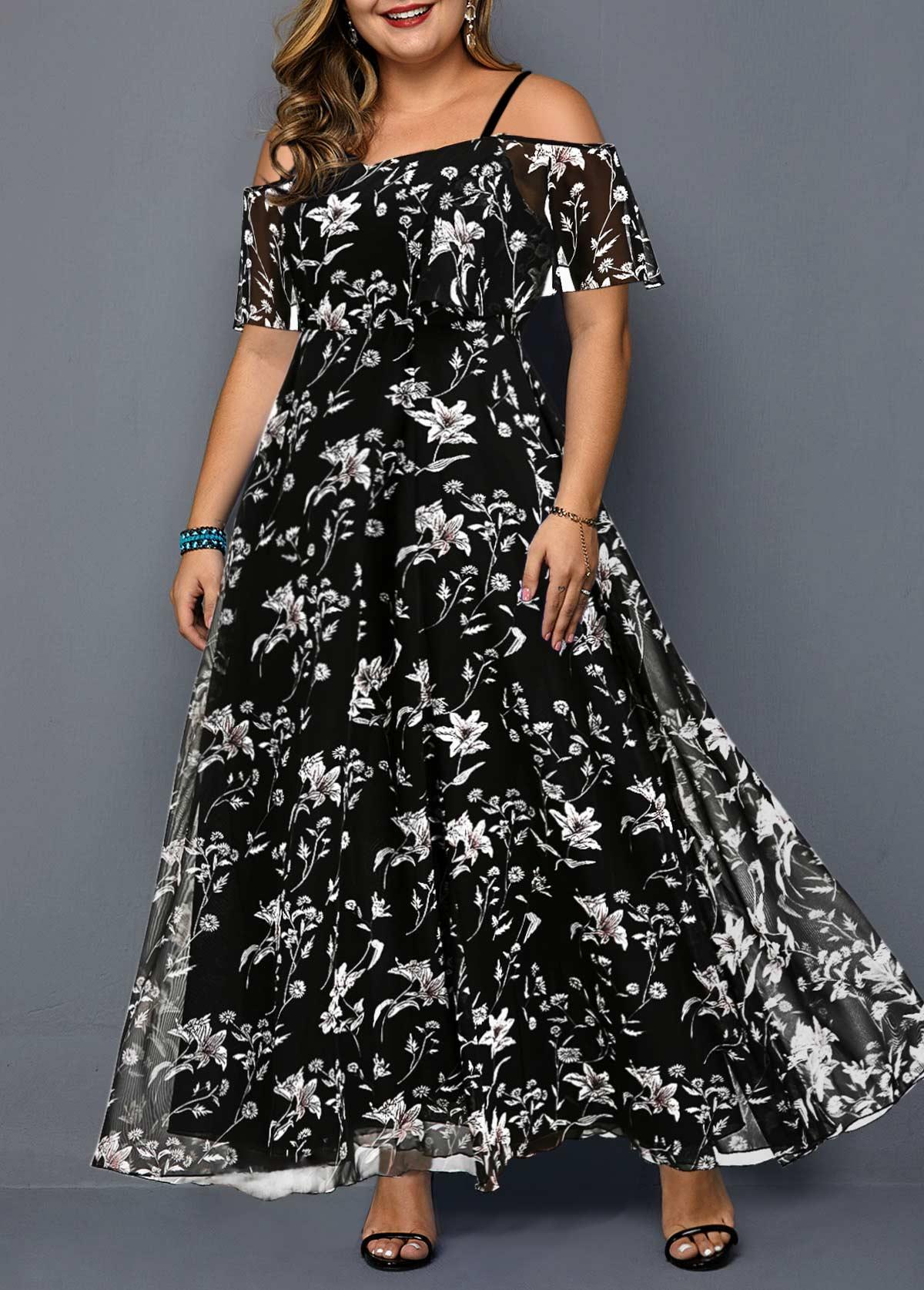 Plus Size Black Prined Strappy Cold Shoulder Dress