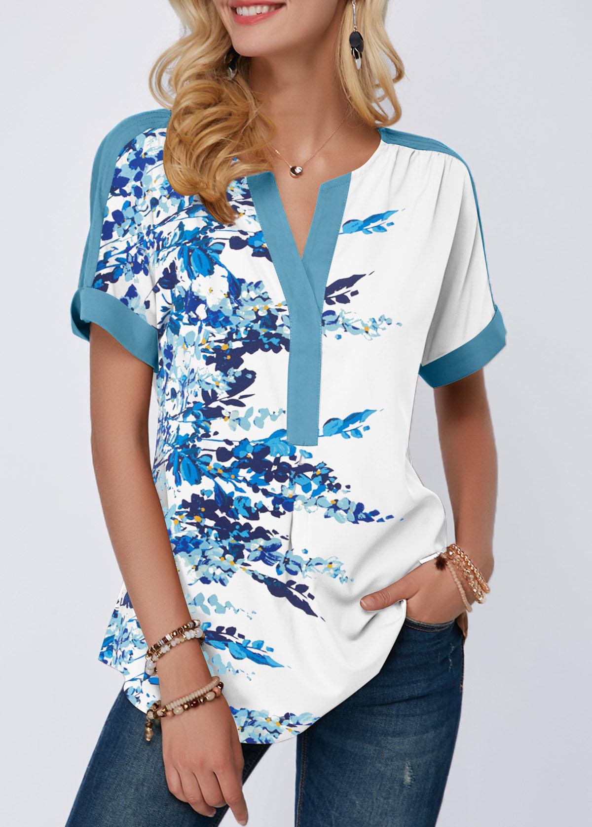 Split Neck Blossom Print Short Sleeve T Shirt