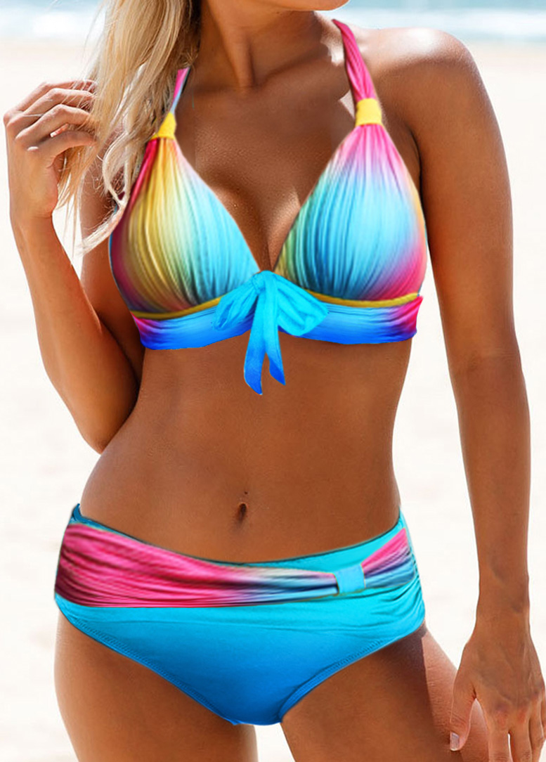 Tie Front Halter Neck Printed Bikini Set