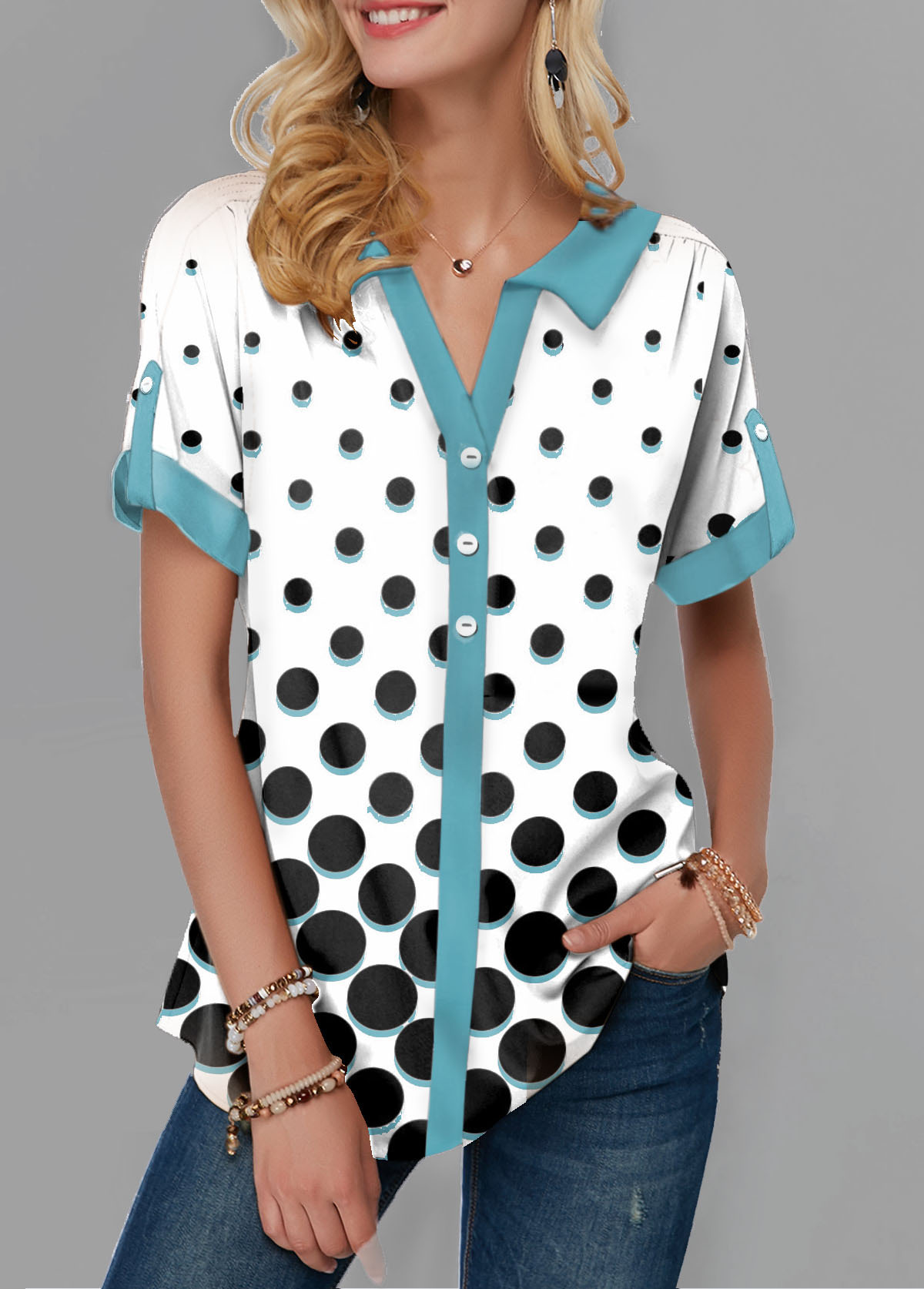 Split Neck Roll Tab Sleeve Polka Dot Print Blouse