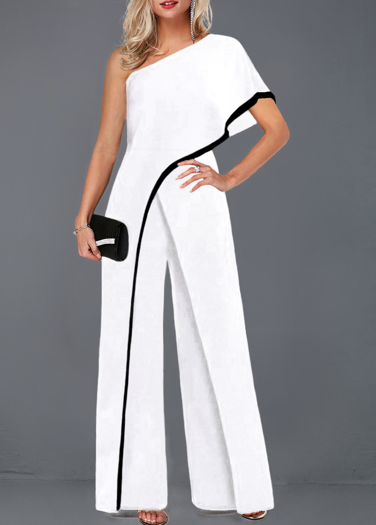 Contrast Piping One Sleeve White Jumpsuit