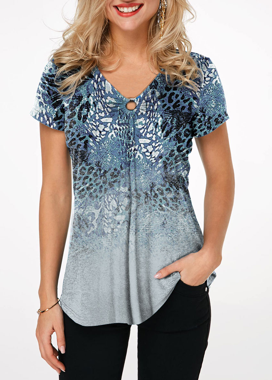Ring Detail Leopard Print T Shirt