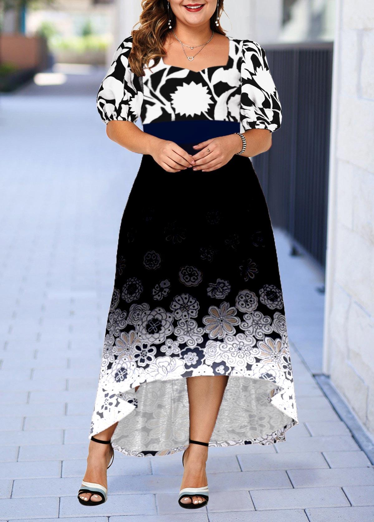Plus Size Floral Print Gradient High Low Dress