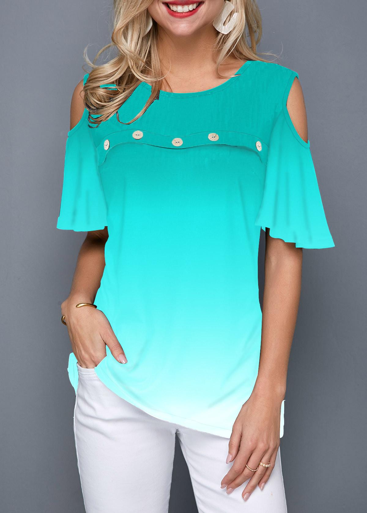 Button Front Cold Shoulder Gradient T Shirt