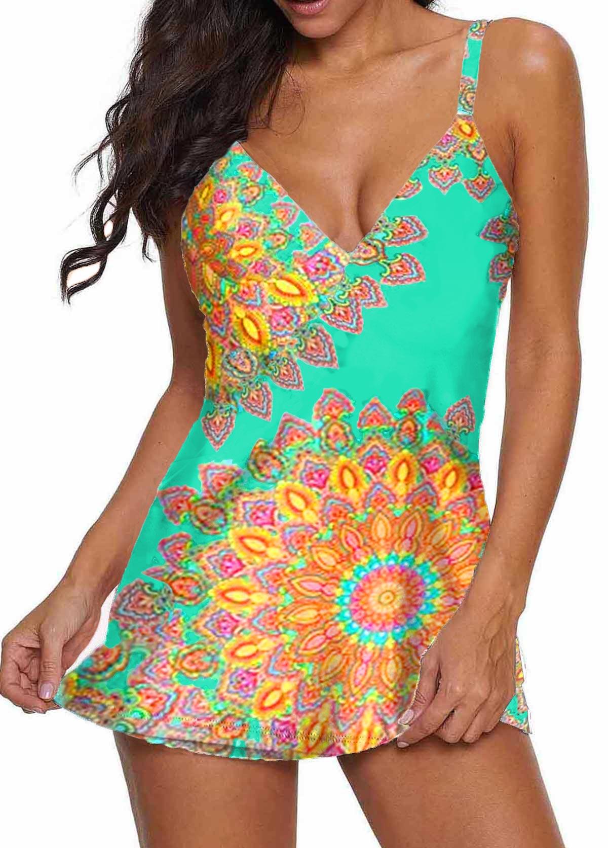V Neck Spaghetti Strap Mandala Print Swimdress and Shorts