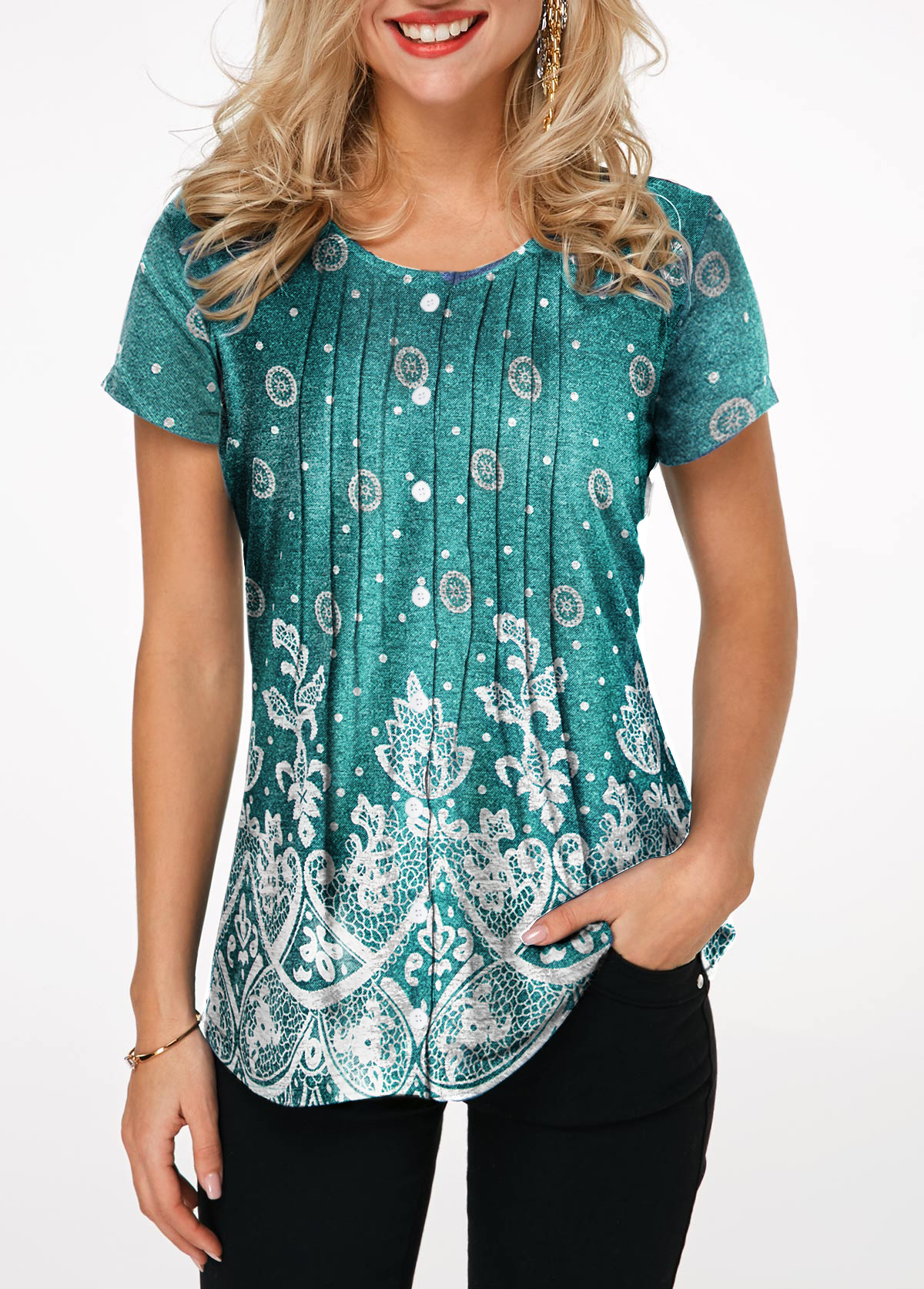 Printed Button Front Round Neck Blouse