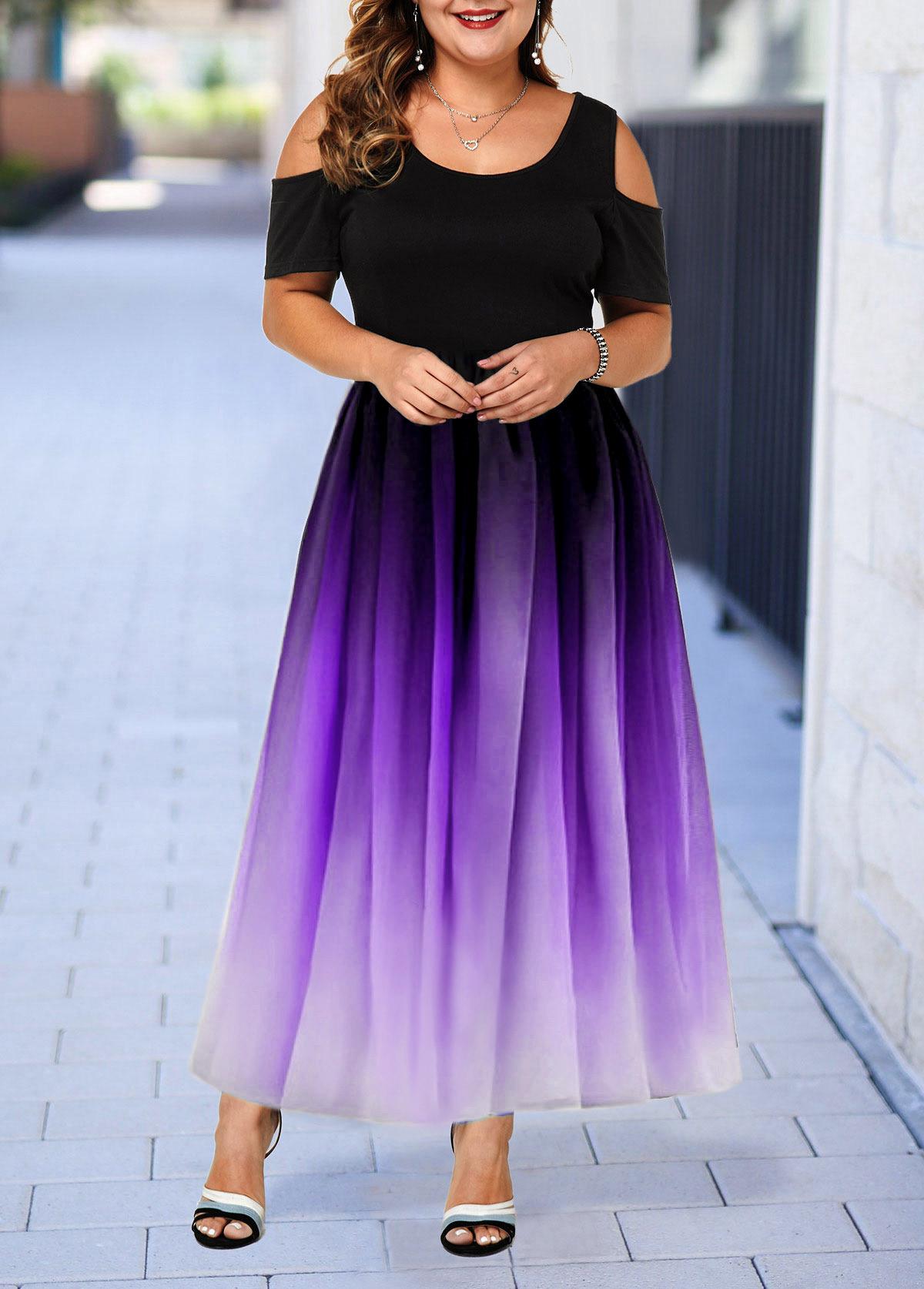 Cold Shoulder Plus Size Gradient Dress | modlily.com - USD $35.99