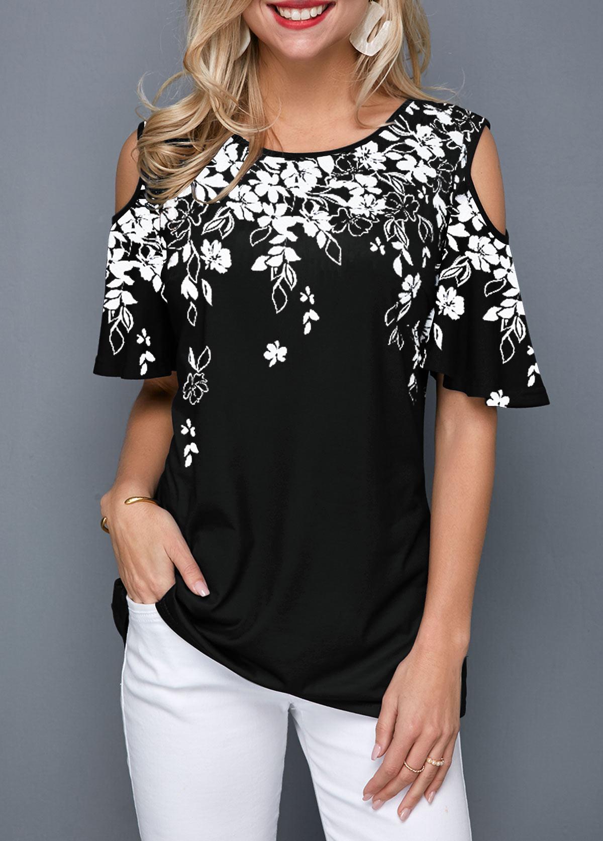 Cold Shoulder Flower Print Black Blouse