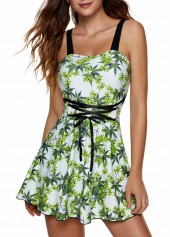 Leaf-Print-Spaghetti-Strap-Tie-Front-Swimdress-and-Shorts
