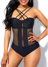 Mesh-Patchwork-Tie-Back-Criss-Cross-Front-One-Piece-Swimwear