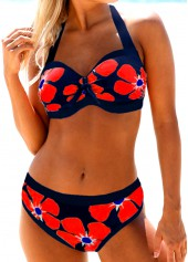 Halter-Neck-Flower-Print-Bikini-Set