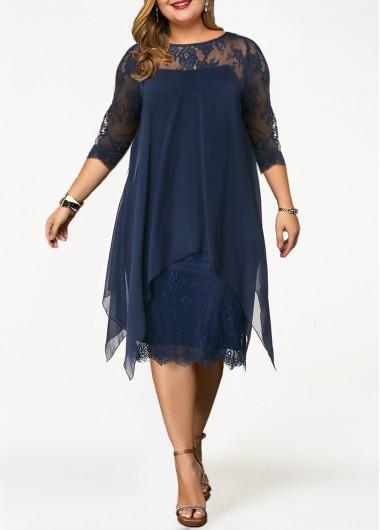 Plus Size Dress Lace Panel Dress Straight Dress Overlay Dress 3/4 Sleeve Dress Blue Dress Elegant Dress - 0X