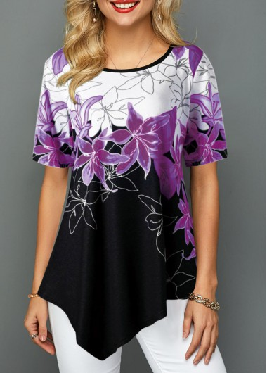 Color Block Floral Print Short Sleeve Casual Shirt for Women Asymmetric Hem Floral Print Round Neck Blouse - L