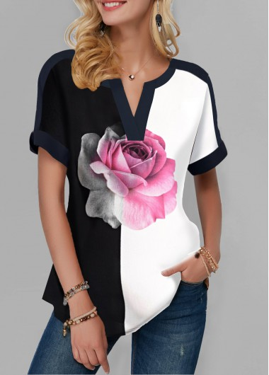 Black And White Color Block Short Sleeve Shirt for Women Notch Neck Rose Print Color Block T Shirt - XXL