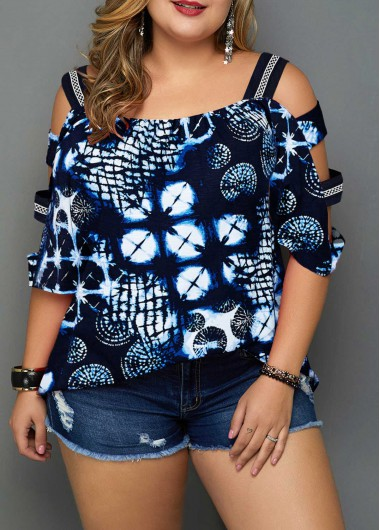 Plus Size Ladder Sleeve Printed Navy Blue Blouse - 0X