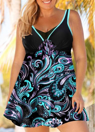 Plus Size Paisley Print Swimdress and Panty - 0X