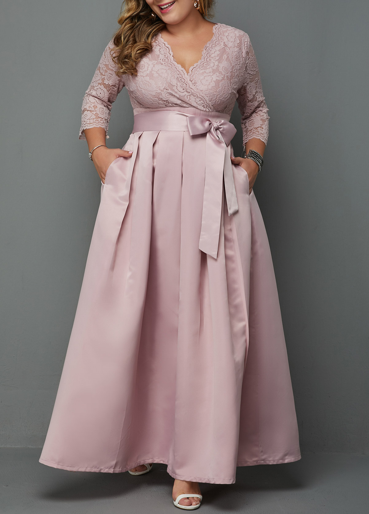 Plus Size V Neck Lace Panel Dress