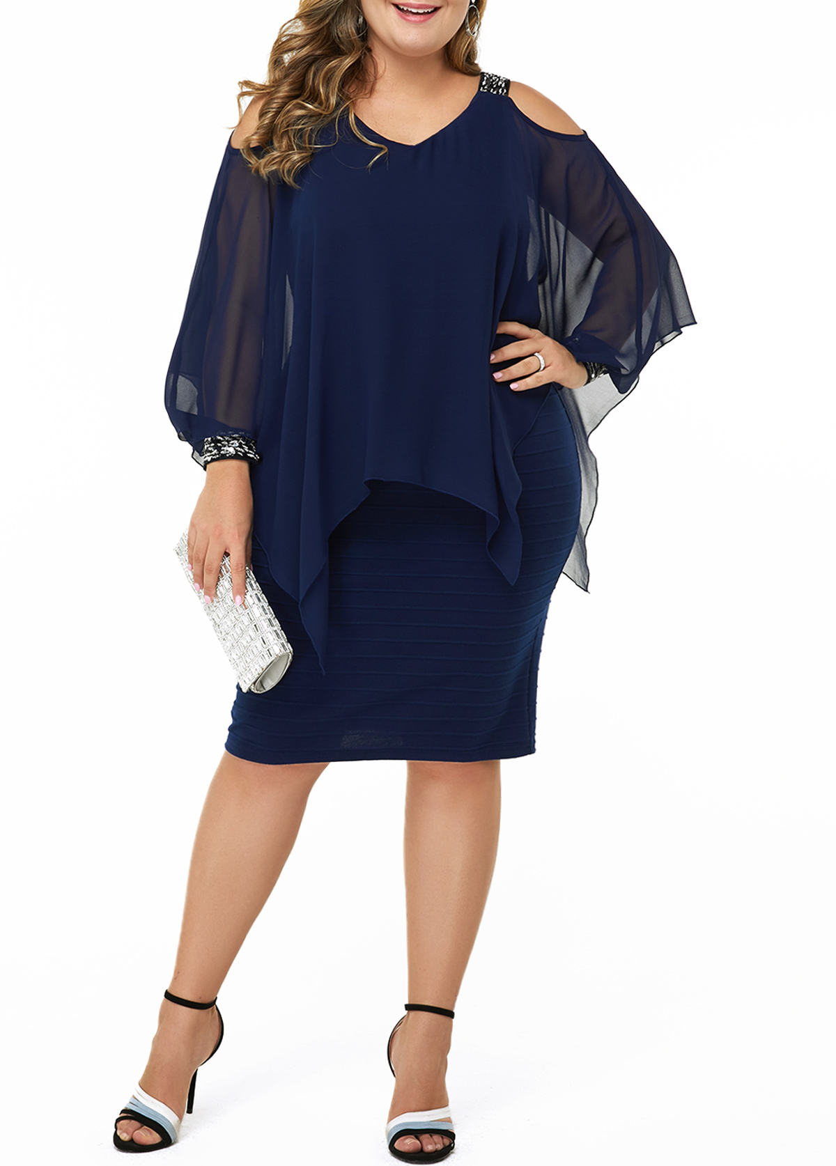 Plus Size Sequin Embellished Cold Shoulder Dress