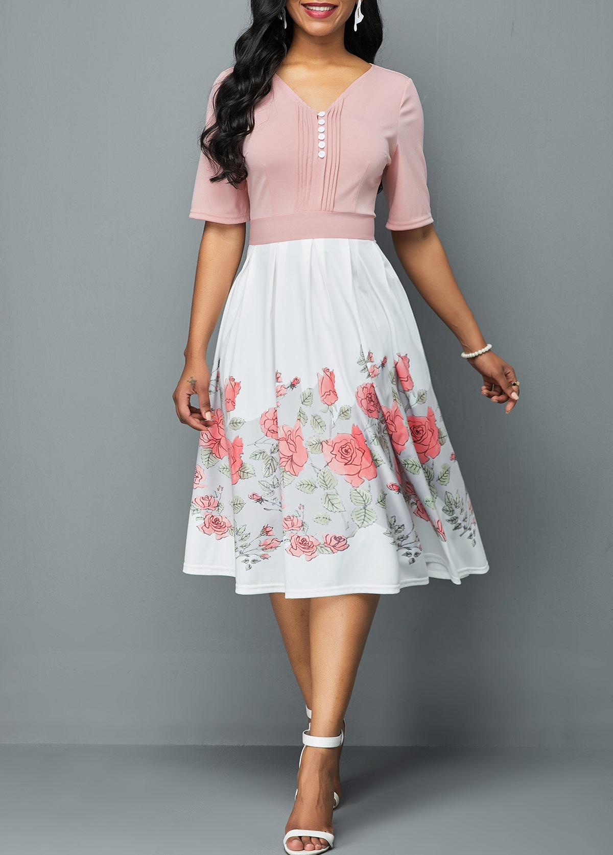 Crinkle Chest Half Sleeve Flower Print Dress