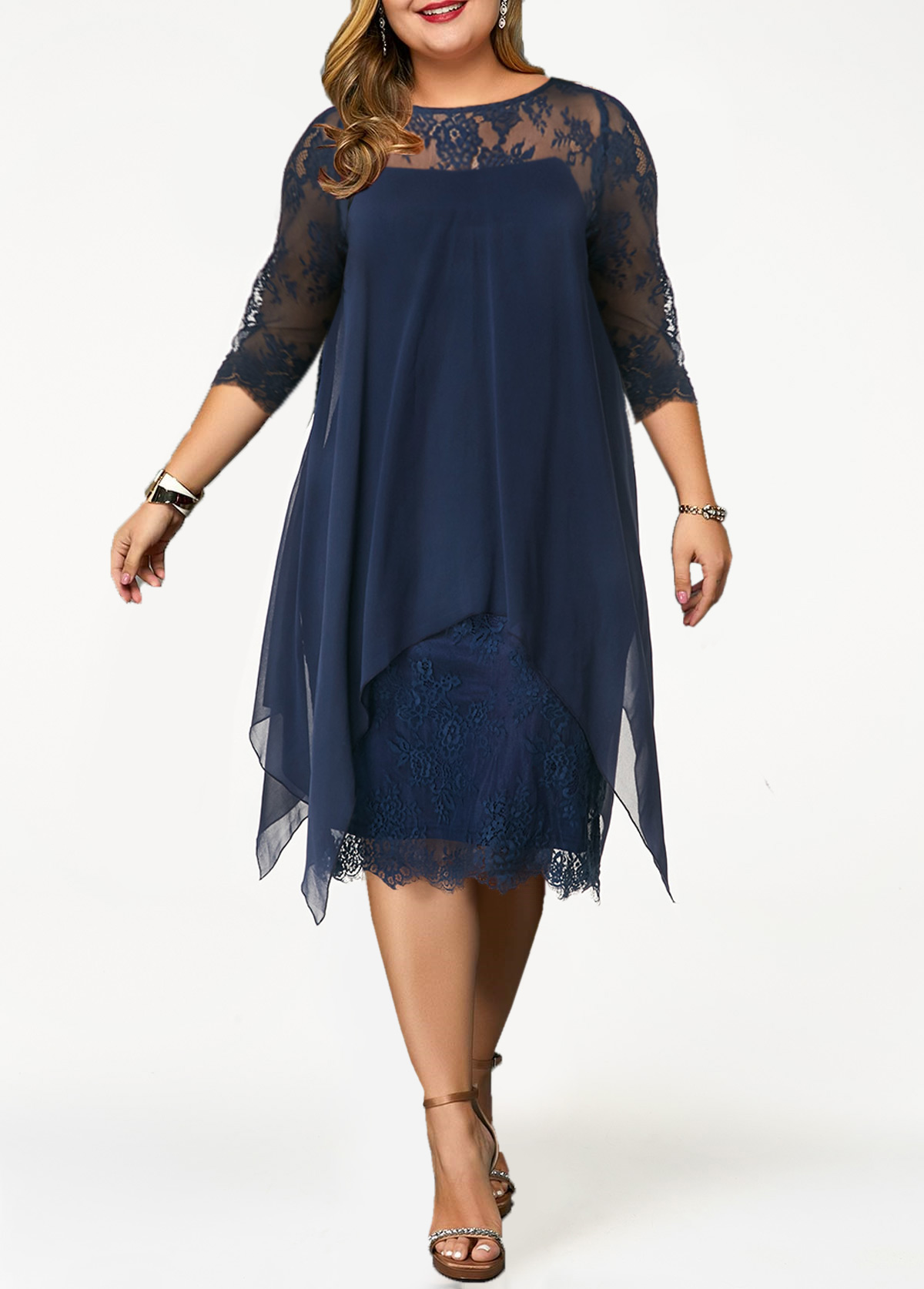 Lace Panel Overlay Plus Size Straight Dress