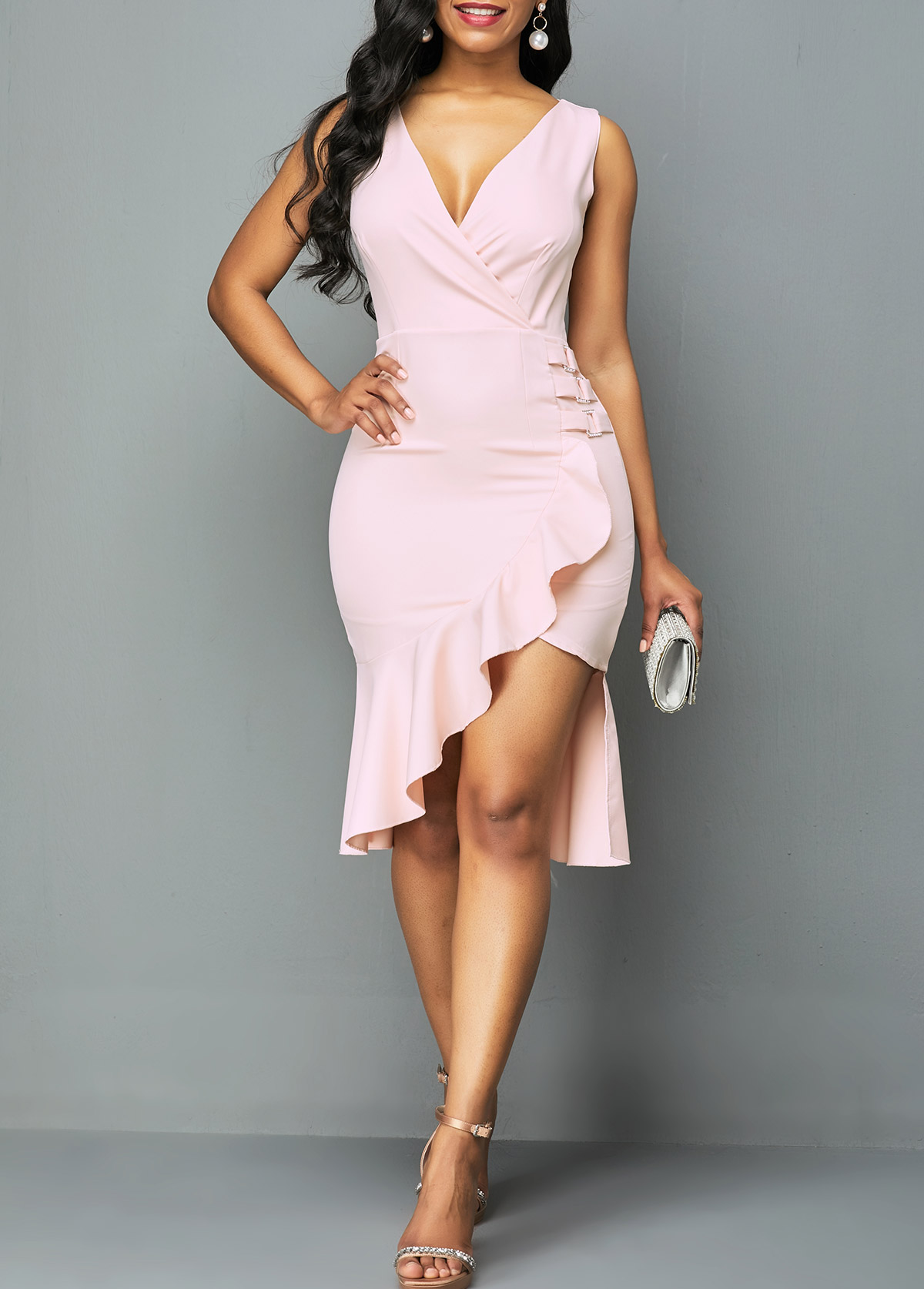 Ruffle Trim Plunging Neck Back Zipper Dress