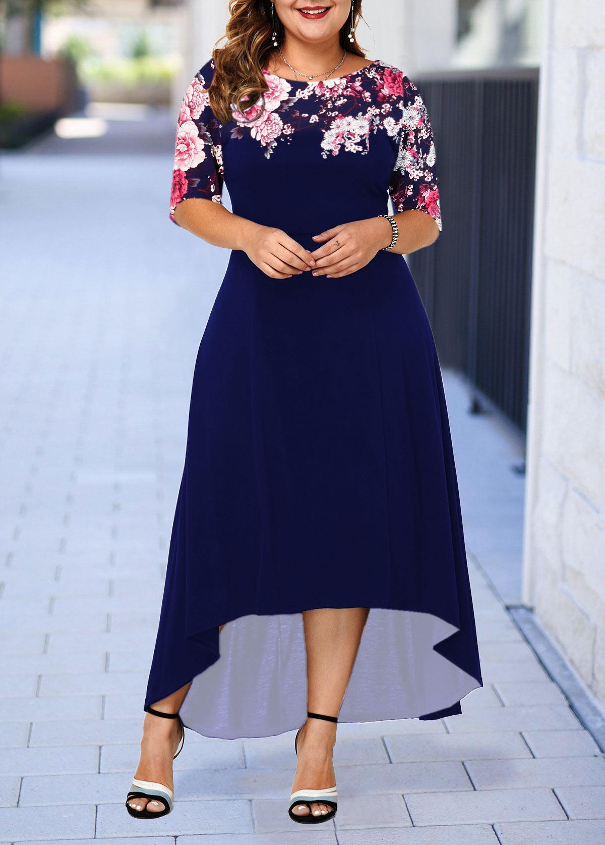Dip Hem Flower Print Plus Size Dress