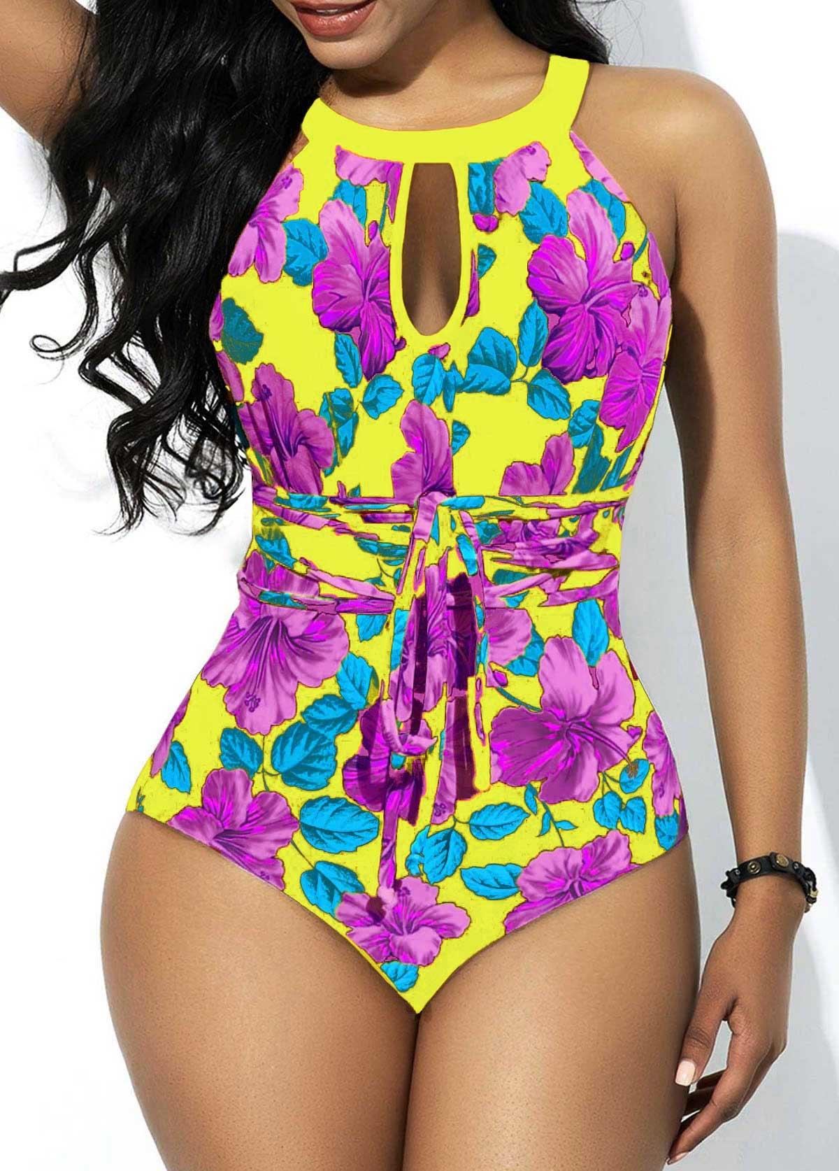 Keyhole Neckline Floral Print One Piece Swimwear