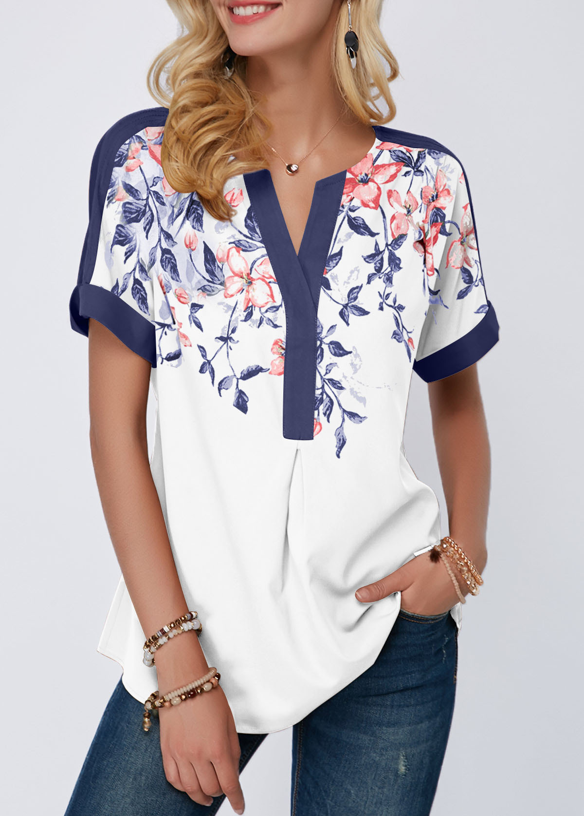 Split Neck Floral Print Contrast Piping Blouse