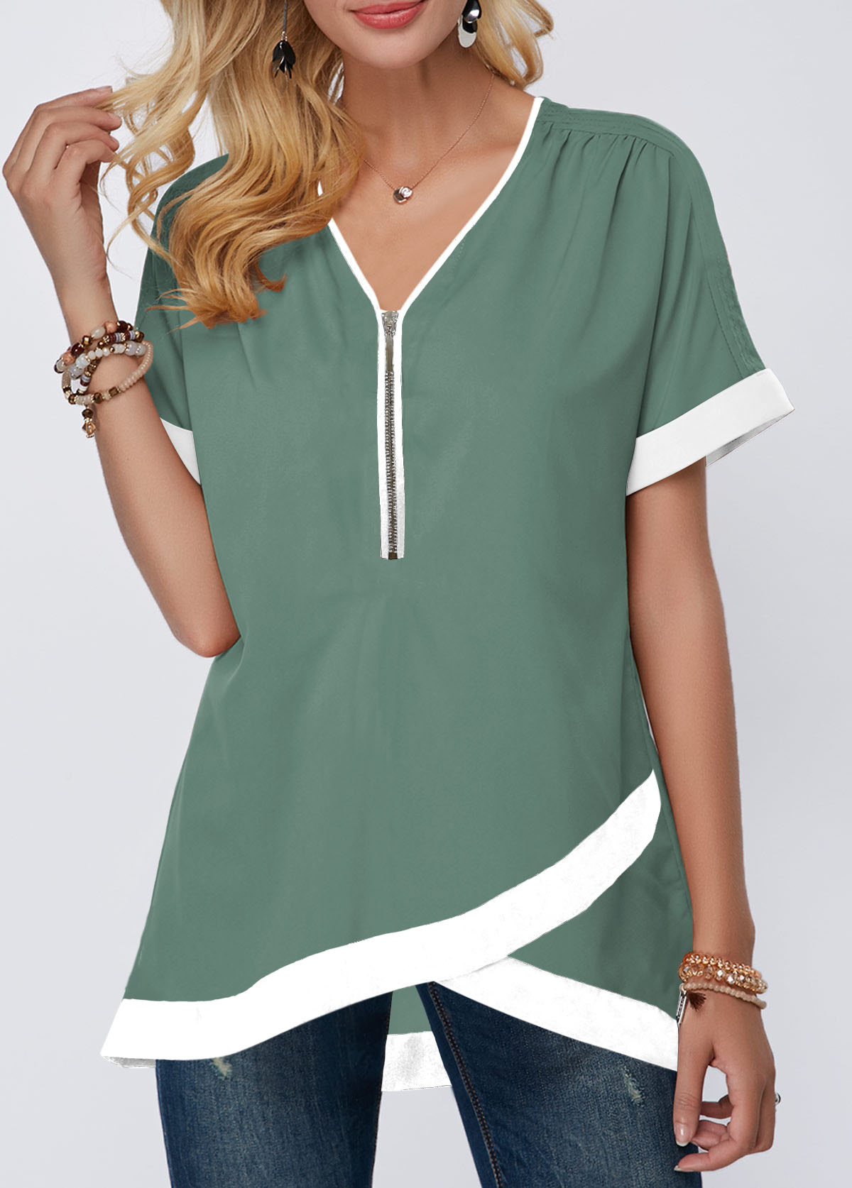Crossover Hem Contrast Piping Half Zipper Blouse