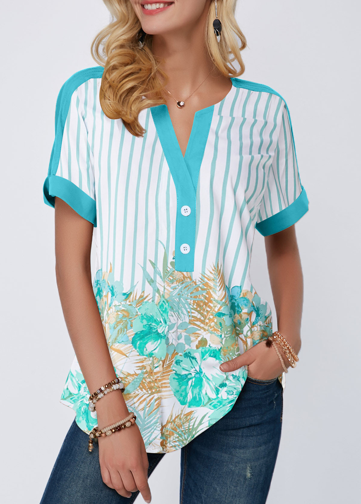 Split Neck Contrast Piping Printed Blouse