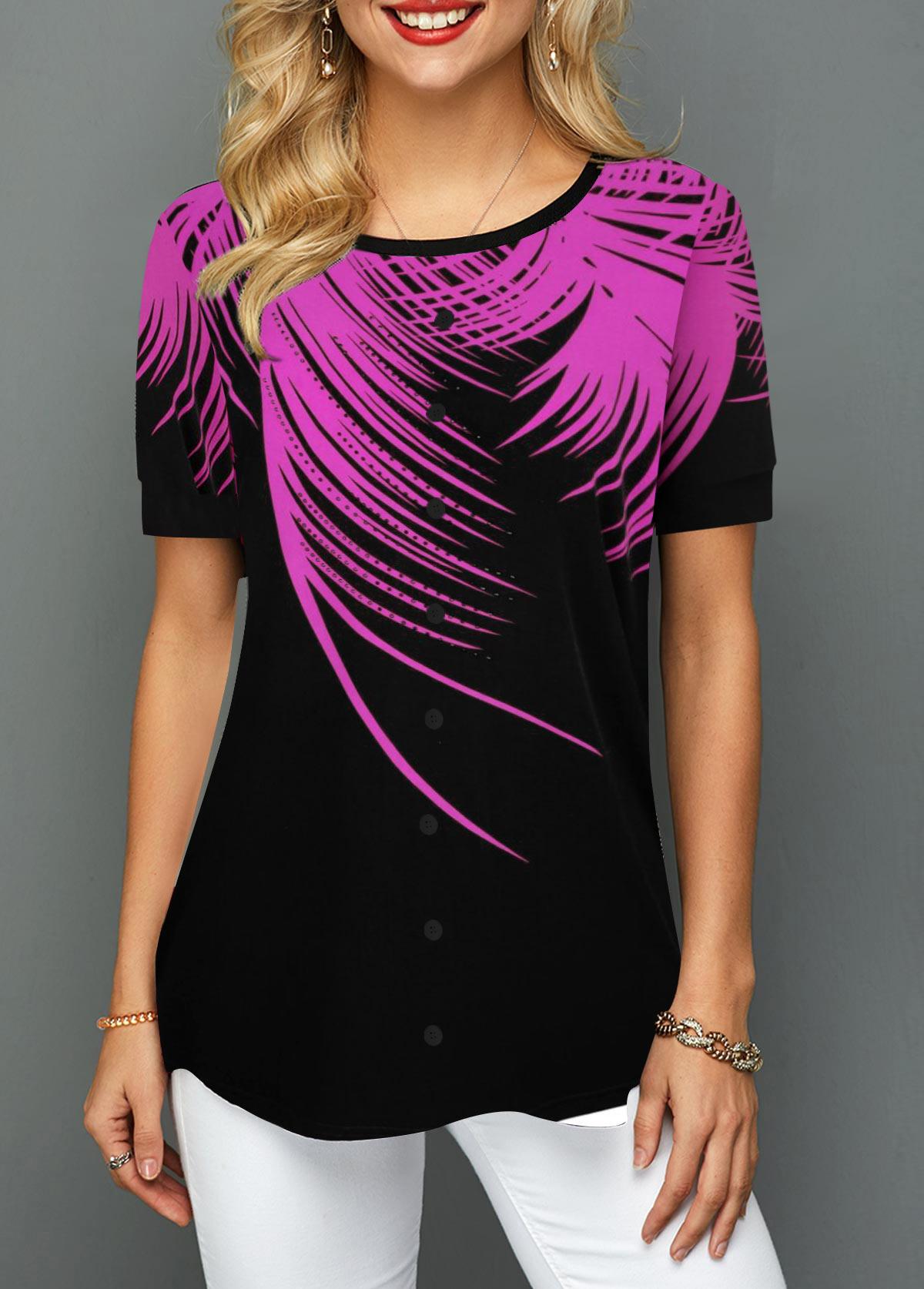Purple Palm Leaf Print Round Neck T Shirt