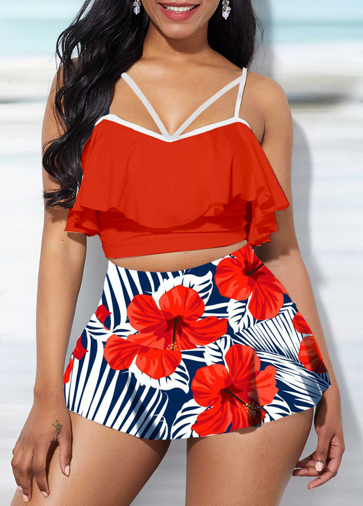 High Waist Ruffle Overlay Swimwear Top and Printed Pantskirt