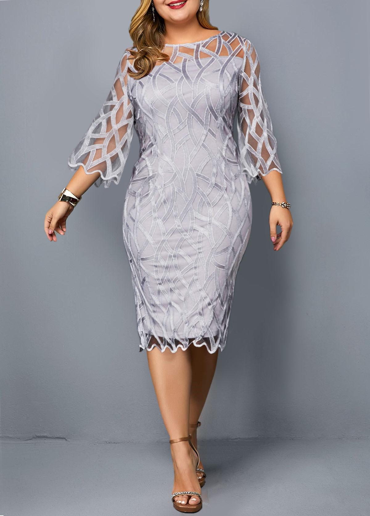 Round Neck Three Quarter Sleeve Plus Size Dress