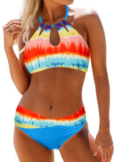 Keyhole Neck Printed Mid Waist Bikini Set