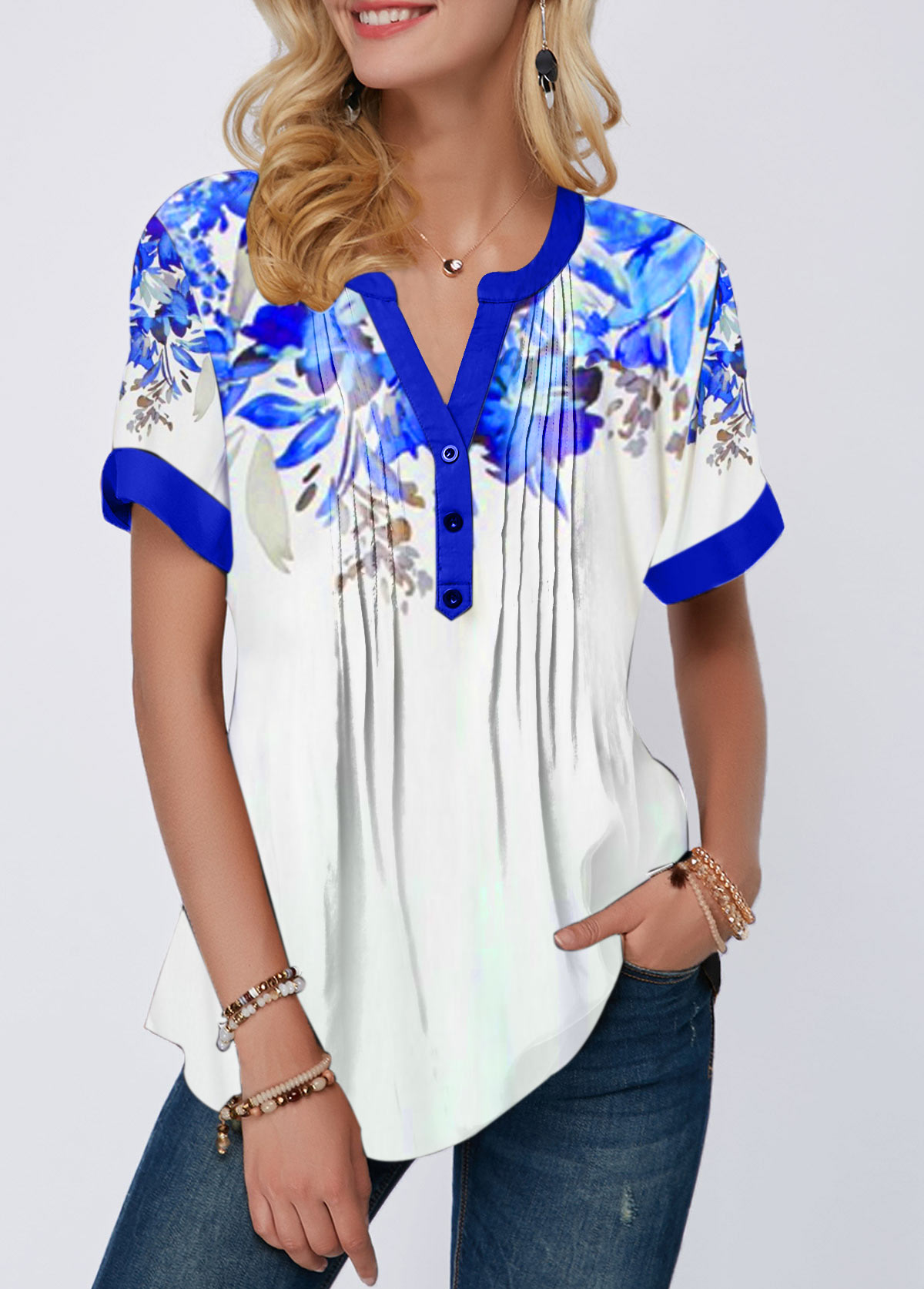 Split Neck Printed Crinkle Chest Blouse