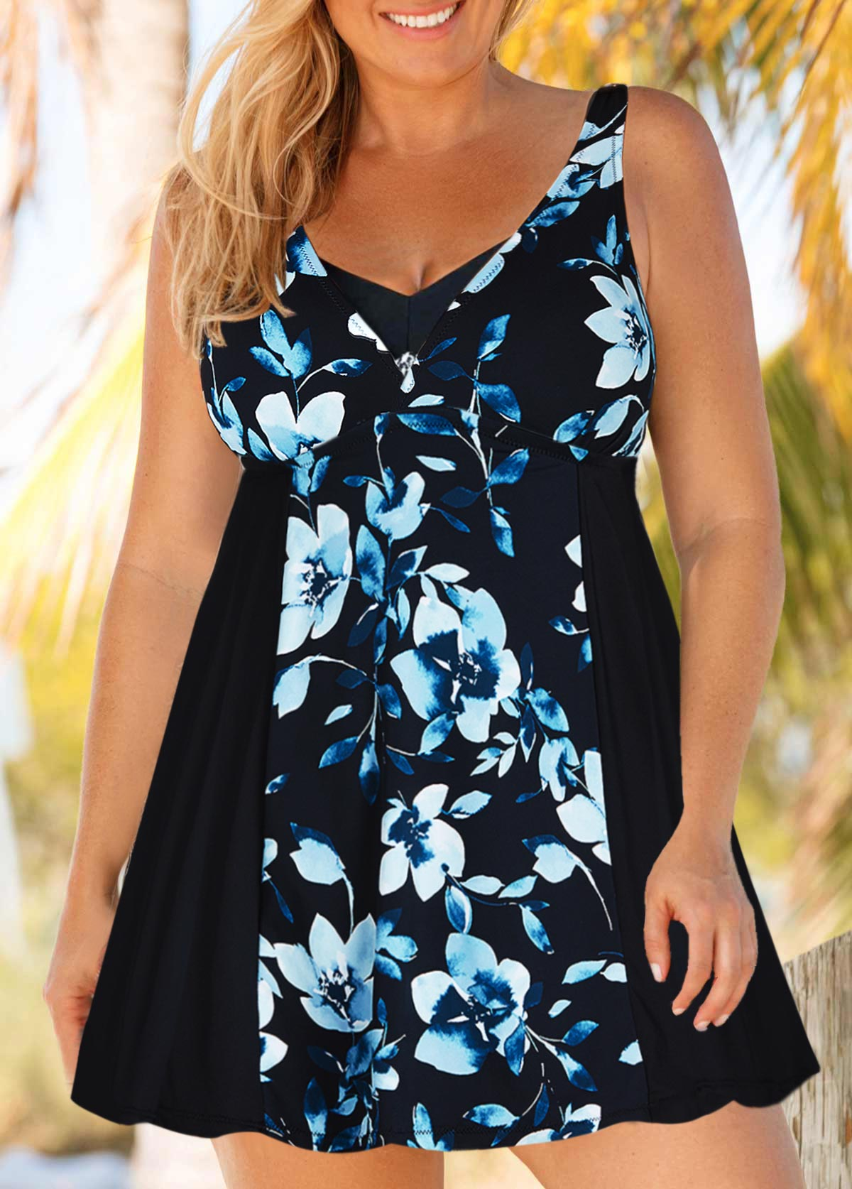 Plus Size Keyhole Back Swimdress and Shorts