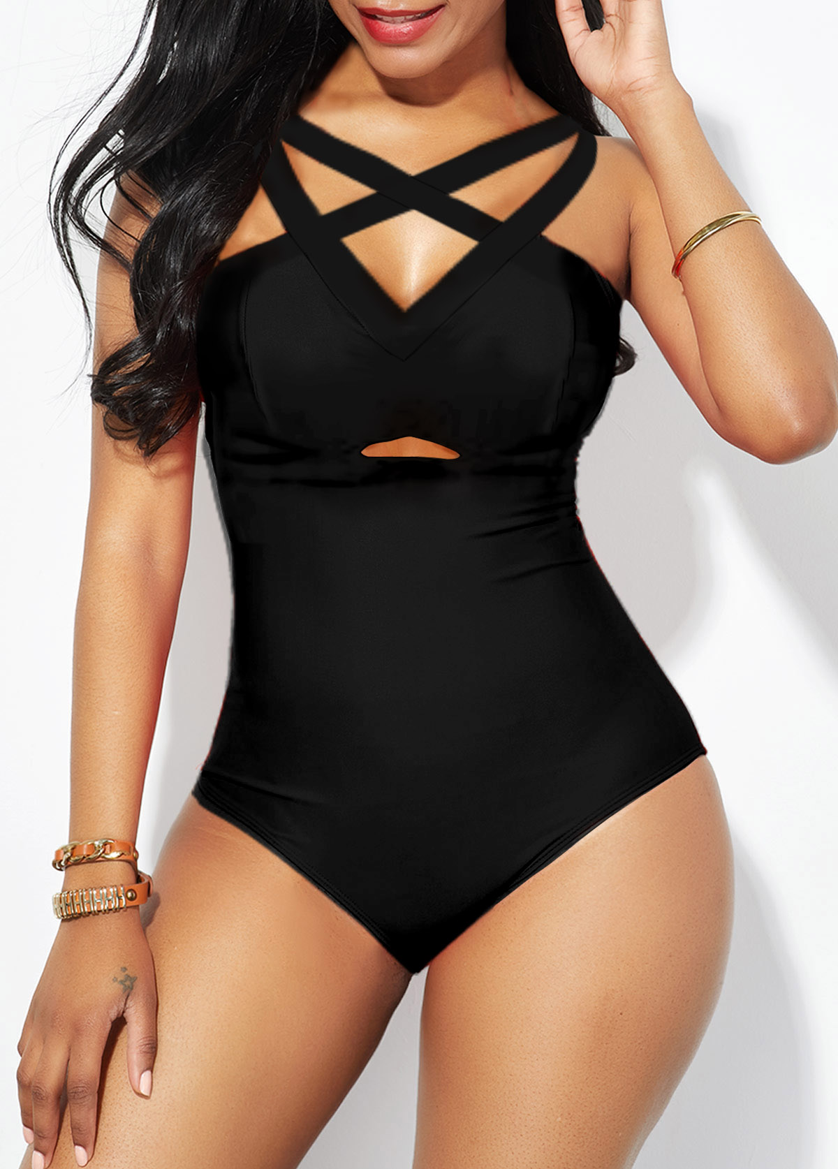 Lattice Front Strappy Back Black One Piece Swimwear