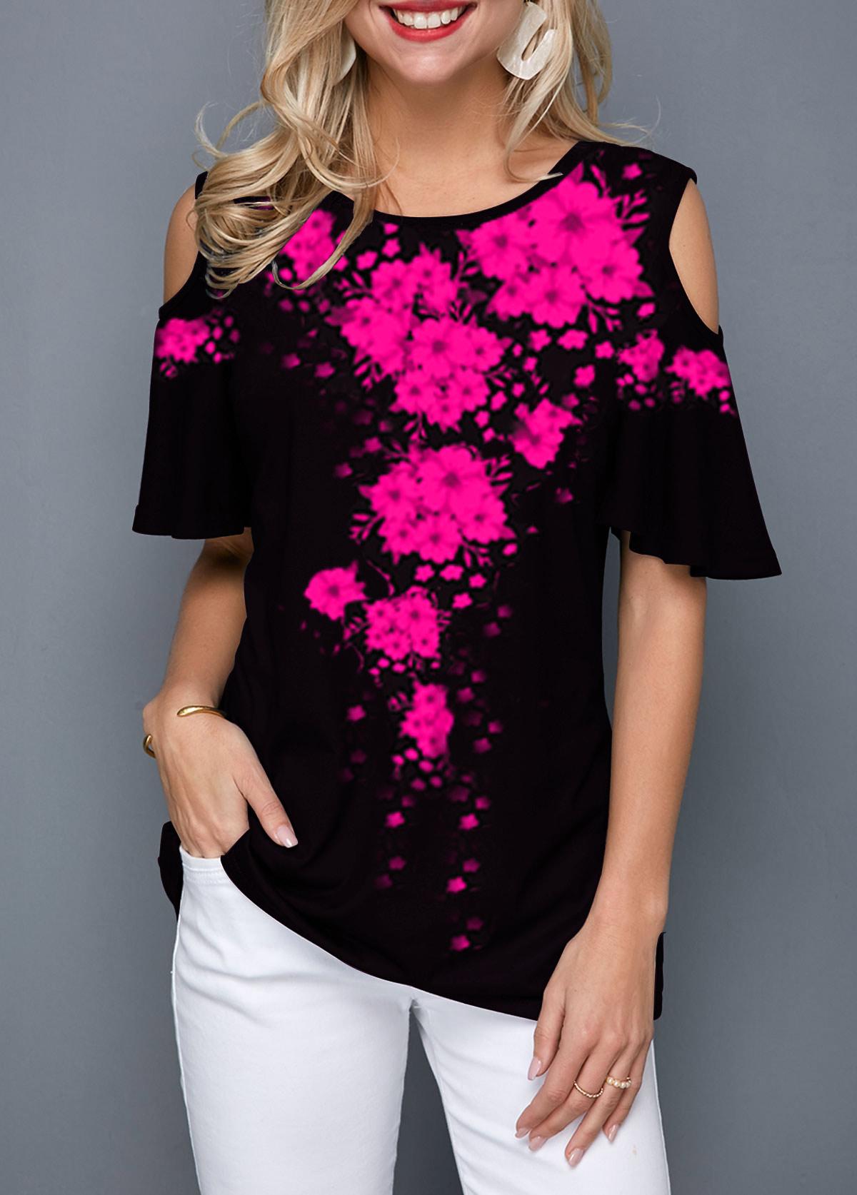Cold Shoulder Printed Half Sleeve T Shirt