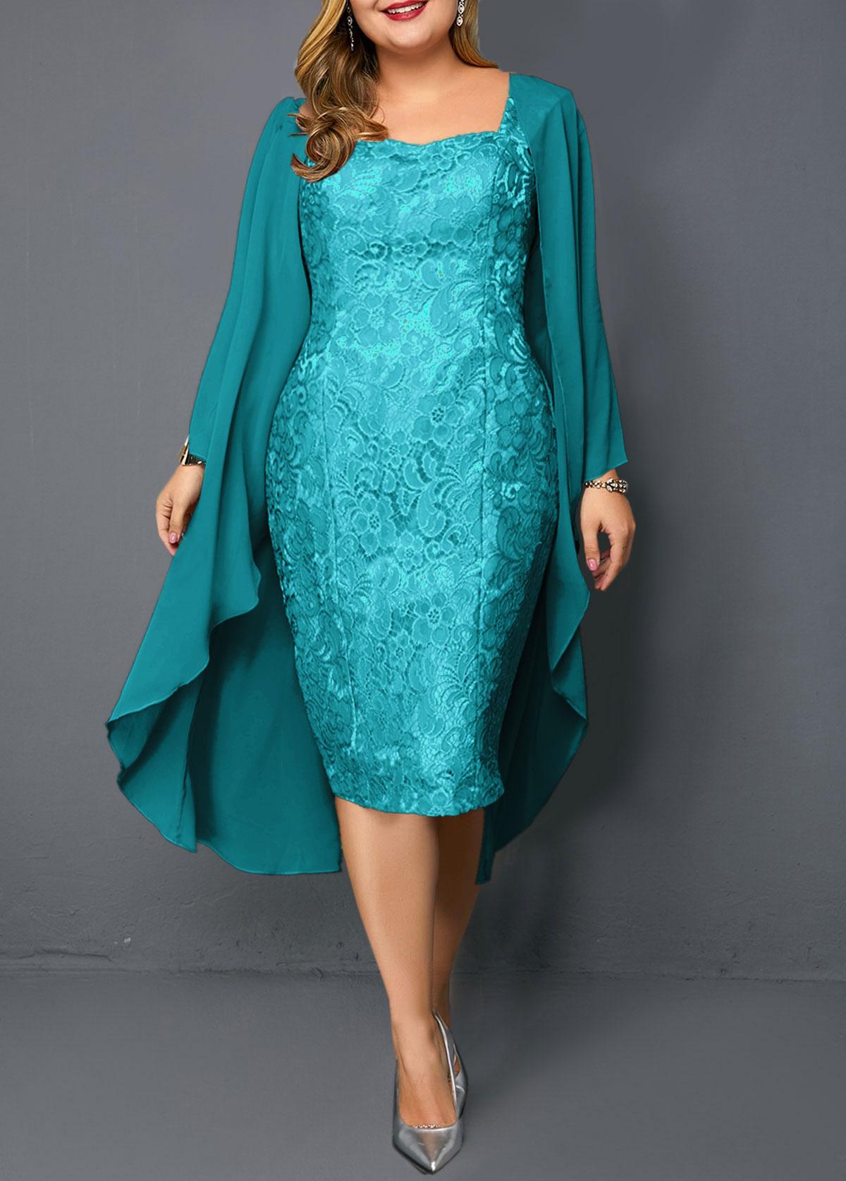 Plus Size Chiffon Cardigan and Turquoise Sleeveless Lace Dress