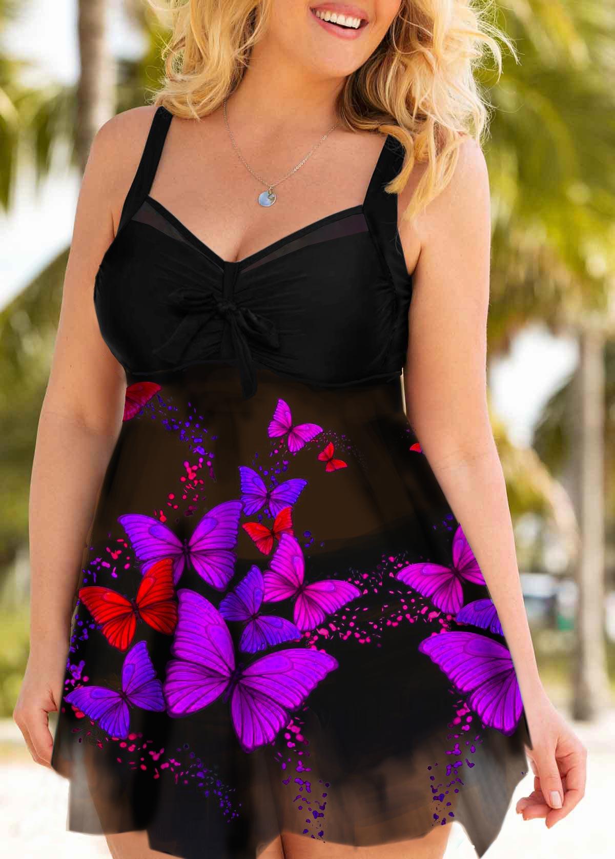Plus Size Tie Front Printed Asymmetric Hem Swimdress and Shorts