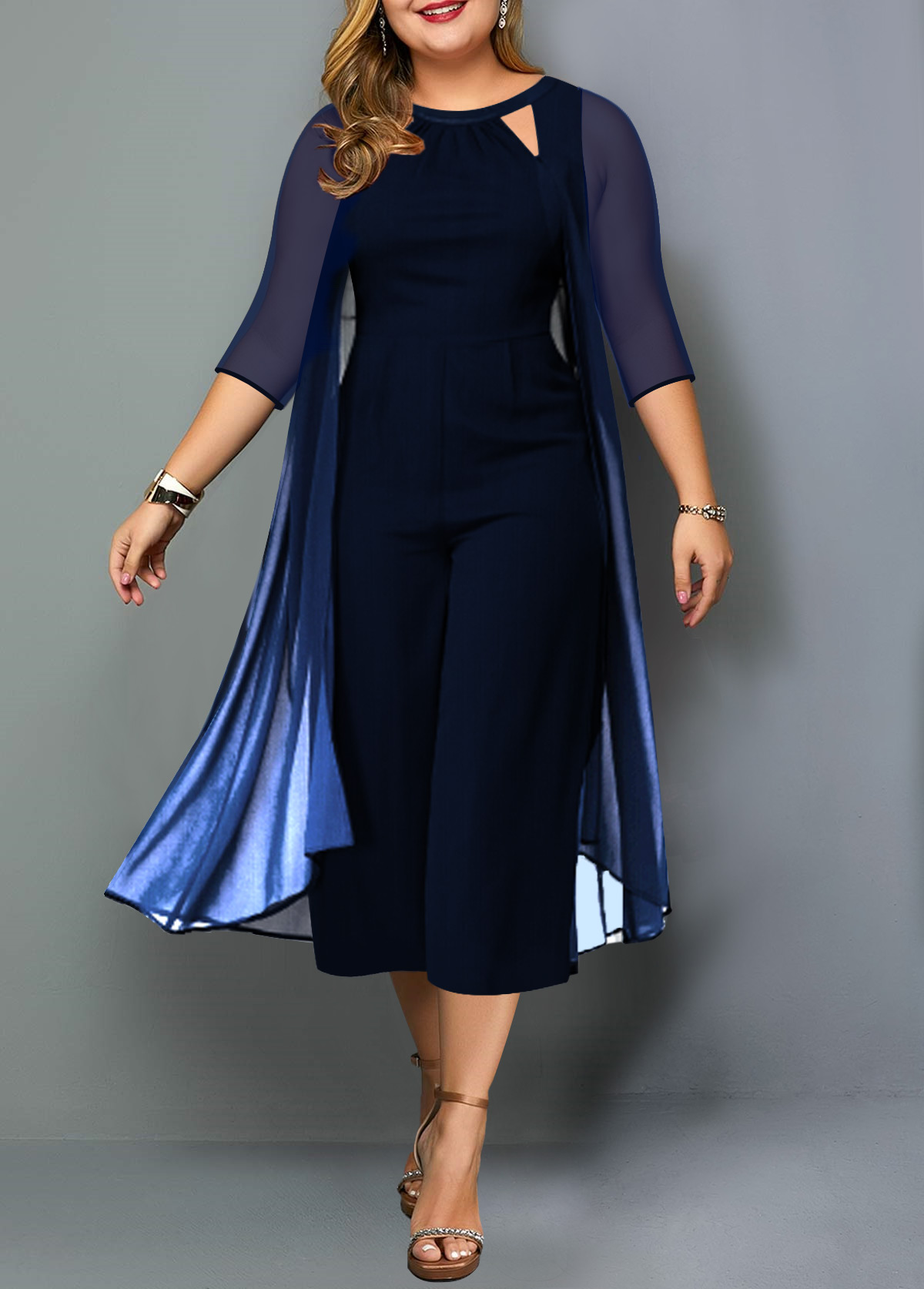 Plus Size Chiffon Overlay Gradient Jumpsuit