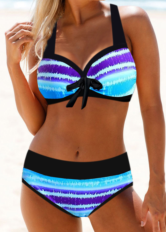 Halter Neck Bowknot Detail Stripe Print Bikini Set