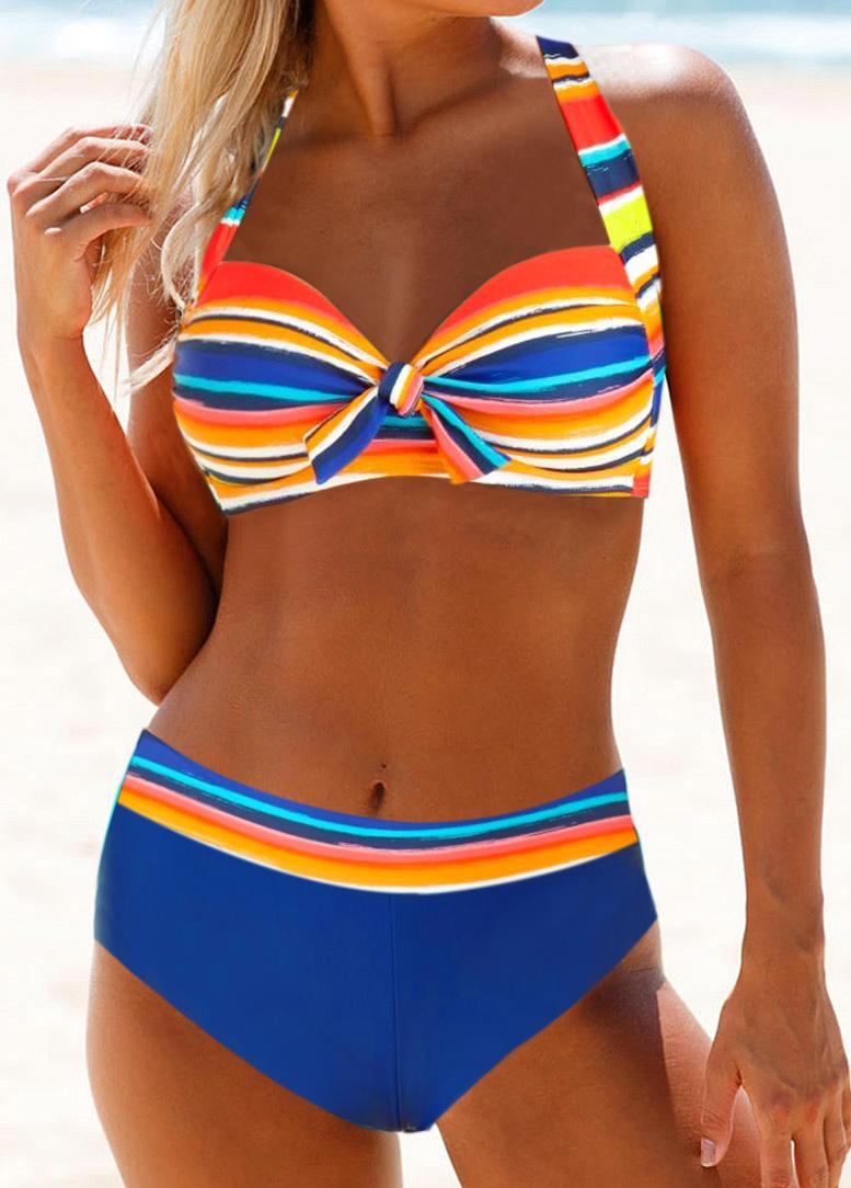 Multicolor Striped Tie Back Bikini Set