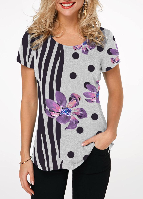 Zebra and Dot Print Round Neck T Shirt