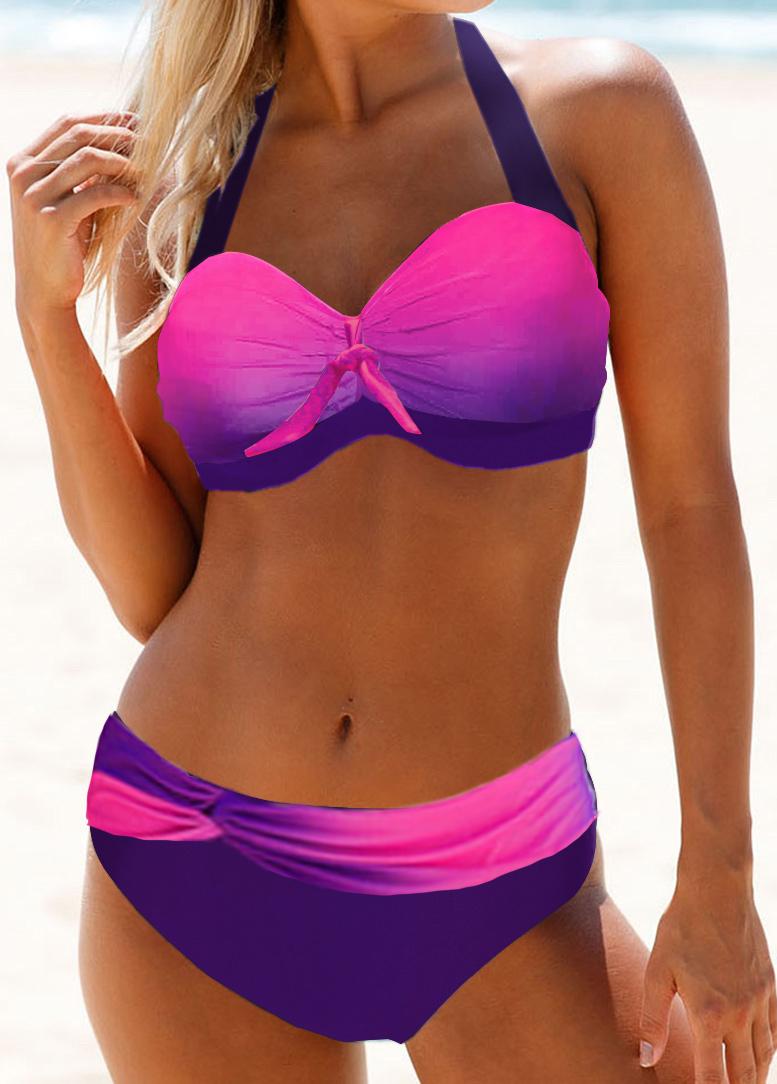 Halter Neck Knot Detail Gradient Bikini Set